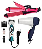 IAS Combo of Hair Dryer and Nhc-2009 Straightener and Curler, Professional Electric Hair