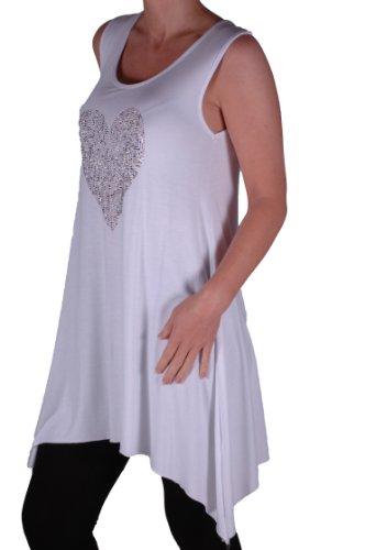 Eyecatch Plus - Débardeur haut droit strass en coeur - Femme Blanc