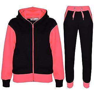 A2Z 4 Kids® Kids Tracksuit Girls Boys Designer's Plain Contrast - Plain 101 - Neon Pink - 11-12 Years