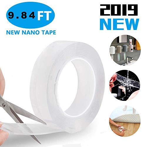 Klebeband Doppelseitig Stark, Waschbares Spurloses Klebeband, Doppelseitiges Klebeband Transparent, Nano Magic Tape (1M) -