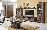 furniture24_eu Wohnzimmer Set TES Kleiderschrank Vitrine Lowboard Couchtisch (Nußbaum)