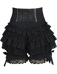54cea7730f hongxin Mujer Encaje Shorts con Múltiple Capas Volantes Lazo Sexy Hoja de  Loto Fold Pantalones Cortos