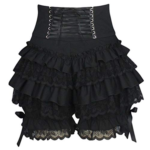 Hibote Damen Shorts Gotisch Lolita Shorts Viktorianische Periode Lace-up Kurz Hosen Schichtung Spitze Sommer Shorts Drama Cosplay Kleidung