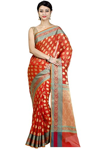 Chandrakala Women's Orange Banarasi Cotton Silk Saree