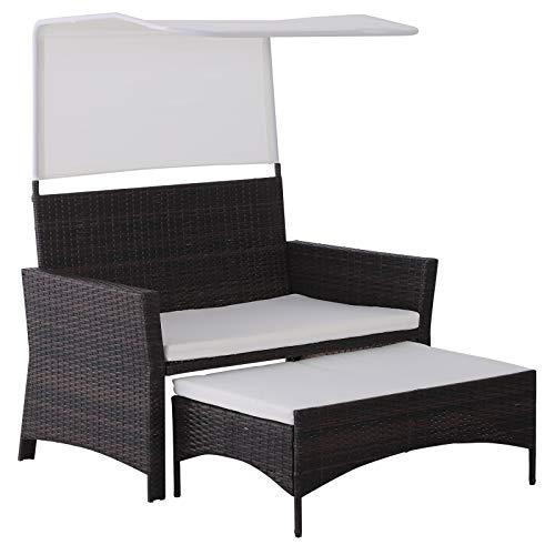 Outsunny 2-TLG. Gartensofa Gartenmöbel Lounge Gartenset Sitzgruppe Rattanmöbel Braun Polyrattan + Metall 2er-Sofa 1 x Hocker mit Sonnendach - Bank-hocker-set
