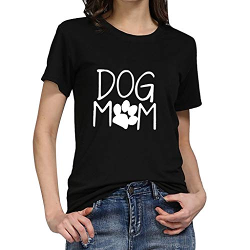iYmitz Damen Mode Lose Oansatz Spitze Rundausschnitt Art- und Weise Frauen Kurzarm Herz T-Shirts Drucken Tops Bluse Shirts(F-Schwarz,EU-40/CN-L) -
