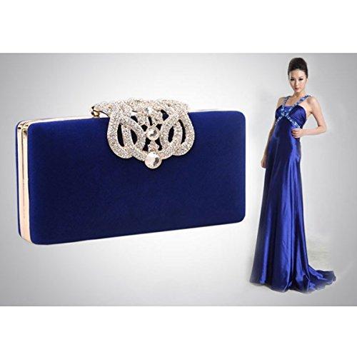 LAHAUTE Velveteen Handtasche mini elegante Abendtasche süße Cluthes Blau