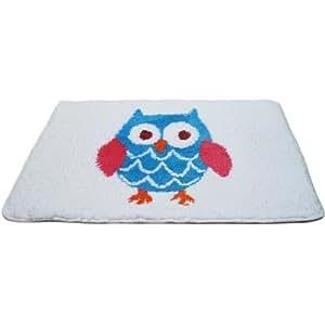 Tapis de salle de bain motif oiseau hiboux kautz animal en microfibres pour salle de bain chenille tapis de bain 50 x 70 cm-dérapant badmatte tapis contour wC bain douce blanc/bleu/rose/orange/rouge