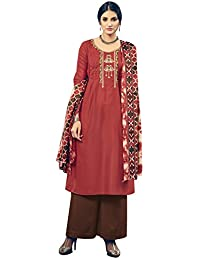 Rosaniya Un-stitched Soft Spun Wool Embroided Salwar Suits For Women With Spun Wool Bottom And Spun Digital Printed...