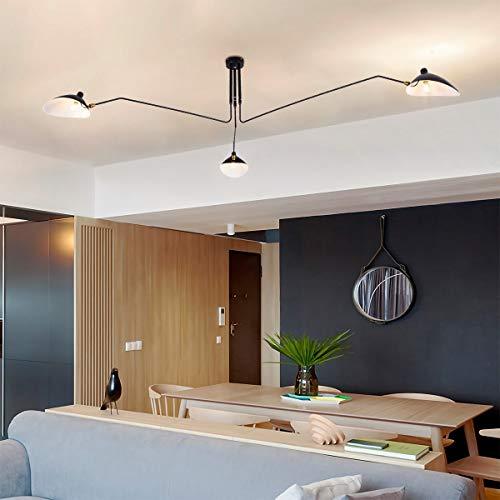 mid-century Moderno Techo iluminación A tres brazos lámparas con cabeza ajustable lámpara para salón Cafe Restaurantes Art Deco Negro