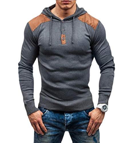 Hooded Knit Poncho (CuteRose Men Splice Knit Warm Hoode Fitness Sport Sweatshirts Top Grey 2XL)