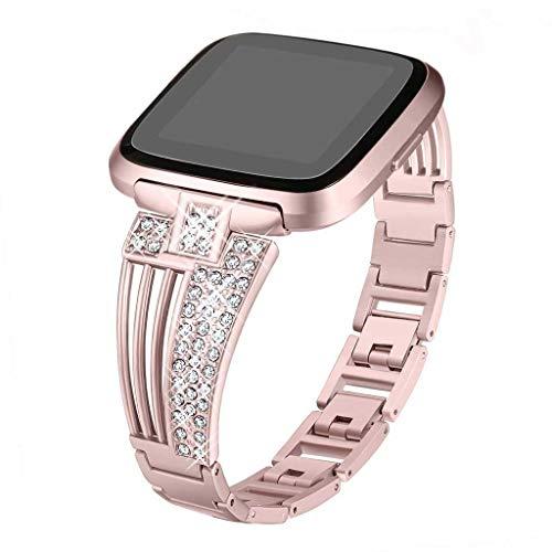 Für Fitbit Versa Lite Armband,Colorful Frauen Armbänder Damen Kristall Metall Ersatz Band Smartwatch Fitness Tracker Zubehör für Fitbit Versa Lite (Roségold)