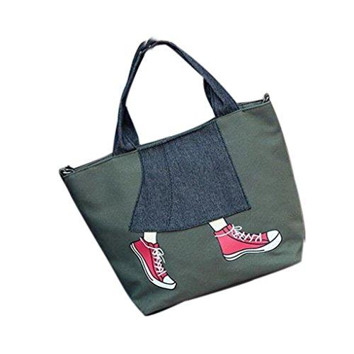 Fotocamera Borsa Cerniera, Donna Canvas Borsetta Borsa Spalla Borsetta Messenger Crossbody Bag Tote by Kangrunmy Verde