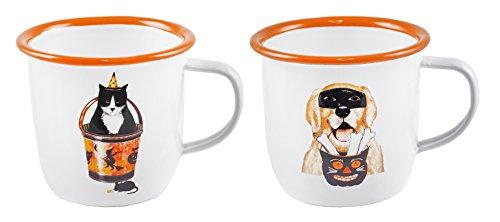 Dressed Up Cat & Dog Halloween emailierten Tassen, Set von - Hot Dog Cat Kostüm