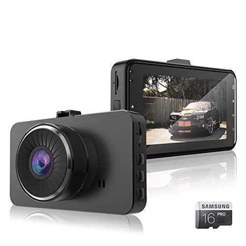 """Dash cam 1080p/30fps full hd telecamera per auto specchietto, obiettivo grandangolare di 170°d'emergenza videocamera per auto con visione notturna e schermo ips da 3"""",rilevatore di movimento, registrazione in loop, g-sensor"""