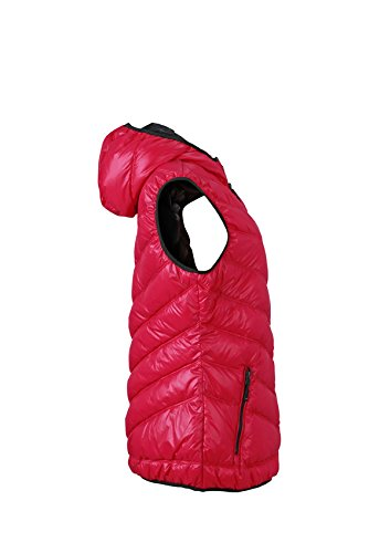 JAMES & NICHOLSON Weste Ladies Down Vest - Blouson - Femme Rouge (Magenta/Graphite)