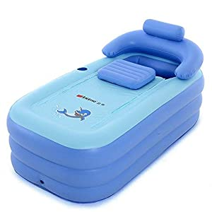 Intime Foldable Inflatable Thick Warm Adults Bathtub Children Inflatable Pool, Blue