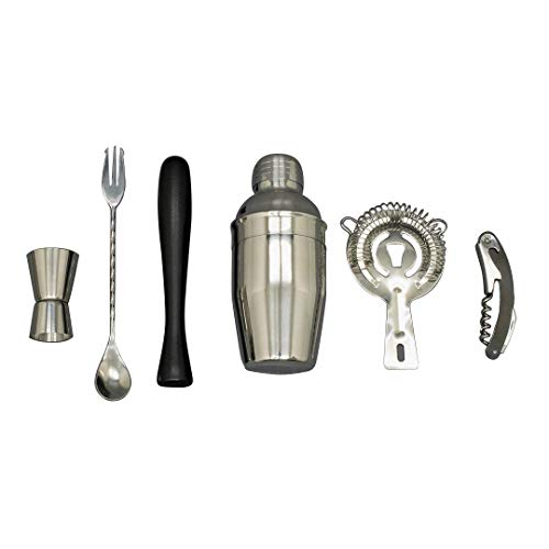 Cocktail-Shaker-Set, Edelstahl, 6-teilig, Shaker, Sieb, Stößel, Flaschenöffner, Rührer und Jigger