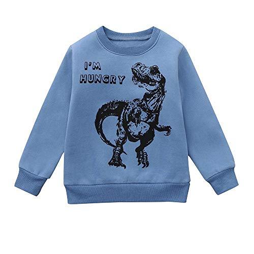 (Tops T-Shirt feiXIANG Babykleidung Schöne Dinosaurier Print Warm Sweatshirt Brief Drucken Hoodie (Blau,90))