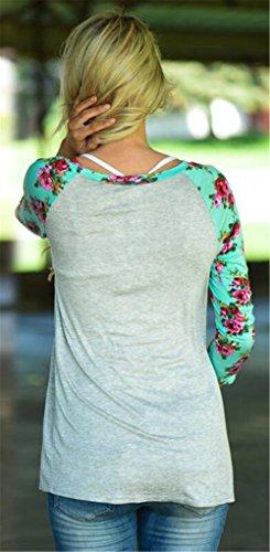 Femmes sexy ras du cou à manches longues impression florale Brochage Slim T-shirt Chemisier Gris