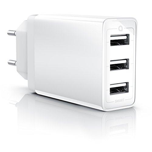 CSL - 30W USB 3 Port Ladegerät Netzteil mit Smart Charge + Solid Charge intelligentes Laden | 6000mA | kompatibel mit Apple iPhone iPad Samsung Galaxy Note Nexus HTC Motorola LG -