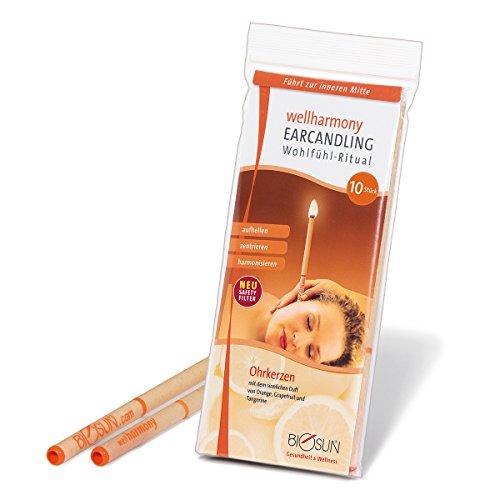 *10 Stück (5 Paar) BIOSUN wellharmony Ohrkerzen/Ohrenkerzen mit Sicherheits-Filter. Sinnlicher Duft von Orange, Grapefruit und Tangerine*