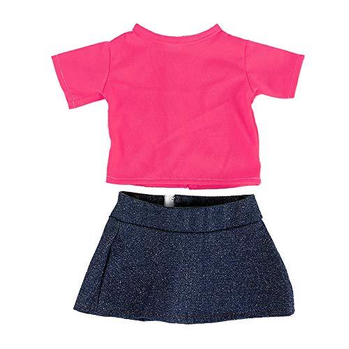 Rote amerikanische Mädchenpuppe kleidet Puppe T Blutcowboyanzug, Malloom T-Shirt Rock für 18 Zoll American Boy Puppe Zubehör Mädchen Spielzeug Kleidung Set (American Girl Puppe Rotes T-shirt)
