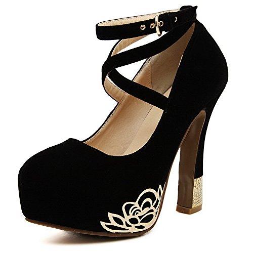 VogueZone009 Femme Rond Boucle Suédé Couleur Unie à Talon Haut Chaussures Légeres Noir
