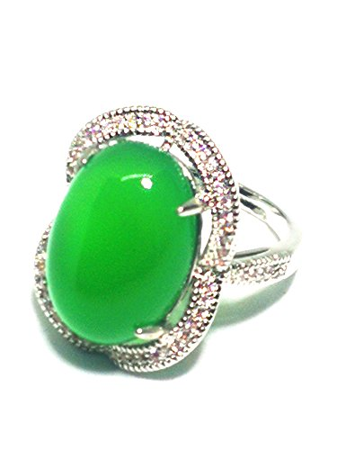 Natural verde Jade ágata mujeres Gemstone anillo