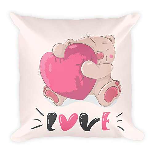 Purefire designs - cuscino morbido con orsetto e cuore, 45 x 45 cm, realizzato a mano in ue