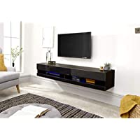 Galicia Wall Mounted Gloss TV Unit with LED - 120 & 180cm - Black, Grey or White#180Black