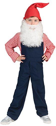 Karneval-Klamotten Zwerg Kostüm Kinder Zwergen Kostüm mit Zwergen-Mütze Zwerg-Latzhose blau Karneval Kinder-Kostüm Größe 140 (7 Zwerge Kostüm Für Kleinkind)