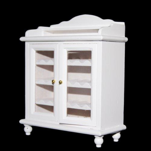 1/12 Miniature Dollhouse Mobili Soggiorno Armadietto Di Legno Del Vino - Bianco