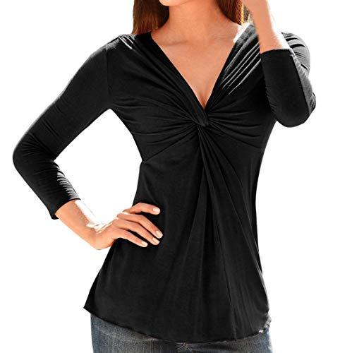 Yazidan Oben Frauen Mode Solide Langarm Gerafft Bluse Sexy V-Ausschnitt Reine Farbe Sweatshirt...