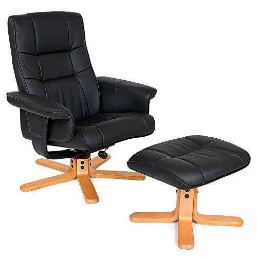 TecTake® TV Fernsehsessel Sessel kippbar drehbar Relaxsessel mit Hocker aus schwarzem Kunstleder mit Holzfüßen