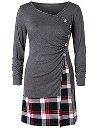 818b3115b95 RoseGal Women s Button Plaid Panel Long Top Blouse Asymmetrical T-Shirt