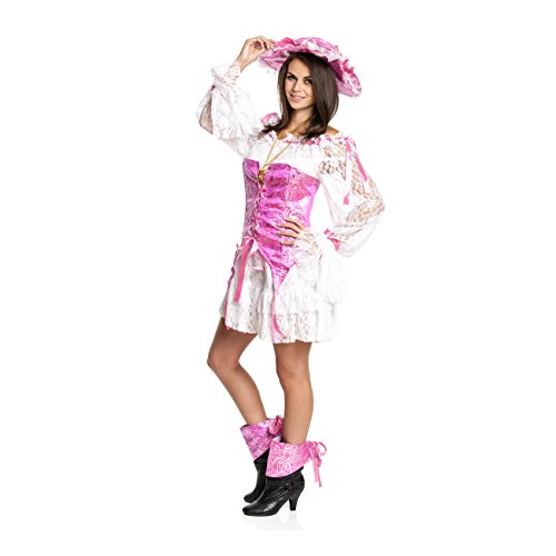 Kostümplanet® Sexy Piratin-Kostüm Damen + Piraten-Hut rosa Piraten-Kostüm Frauen Größe (Kostüme Piraten Für Männer Sexy)