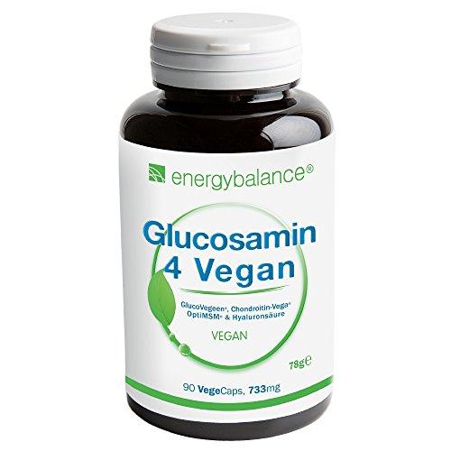 Glucosamin 4 Vegan 733mg pro Kapsel | 4 in einem: Vier vegane Inhaltsstoffe in einem Präparat zur Unterstützung und zum natürlichen Wohlbefinden von Gelenken, Bandscheibe und Knorpel: Glucosamin, Chondroitin, MSM (Methylsulfonylmethan) und Hyaluronsäure (mit optimaler Molekülmasse), | VEGAN garantiert | 90 pflanzliche Kapseln