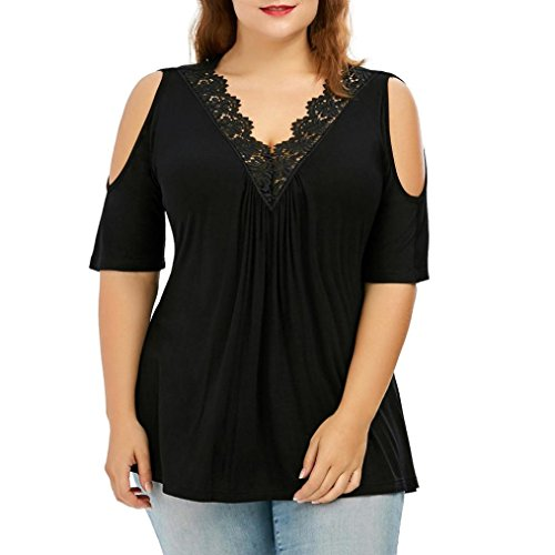 VEMOW Summer Fashion Elegante Frauen Damen Plus Größe Spitzenbesatz V-Ausschnitt Cold Shoulder Trägerlosen Tops Bluse T-Shirt Pullover Tees(Schwarz, 52 DE / 4XL CN) -
