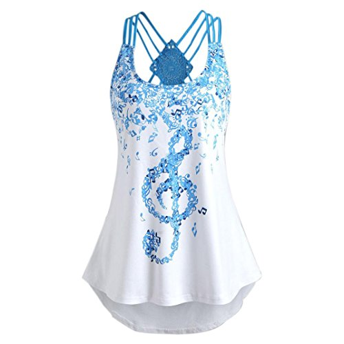 FEITONG Hot!!!Women's Casual Top, Ladies' Bandages Sleeveless Vest Top Musical Notes Print Strappy Tank Tops