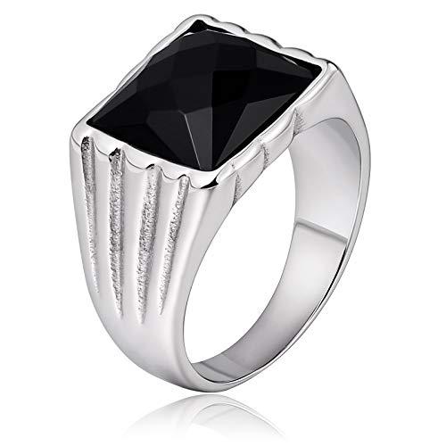 Bishilin anelli da uomo acciaio inossidabile zirconia cubico nero opale rettangolo anello nuziale argento vintage misura 22