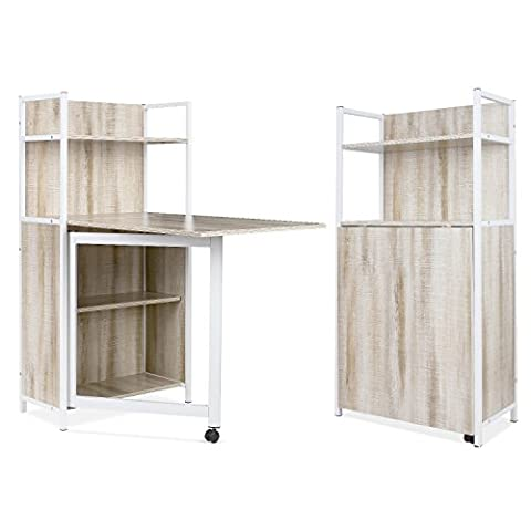 HOMFA Compact Folding Computer Desk with 4 Tier Shelves Work as PC Desk Storage Cabinet Bookcase Dining Table 121 x 30 x 62cm (Beige)