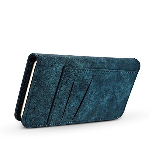 Phone Case pour Apple iPhone 84.7Étui portefeuille avec porte-cartes et magnétique Coque de protection amovible bleu