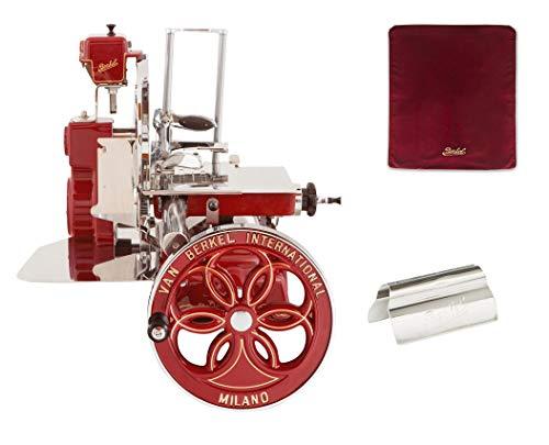 Berkel - Schwungrad B114 - Berkel Rot mit Golddekor - Geblühtes Schwungrad + Roter Slicer Deckel + Schinkenzange