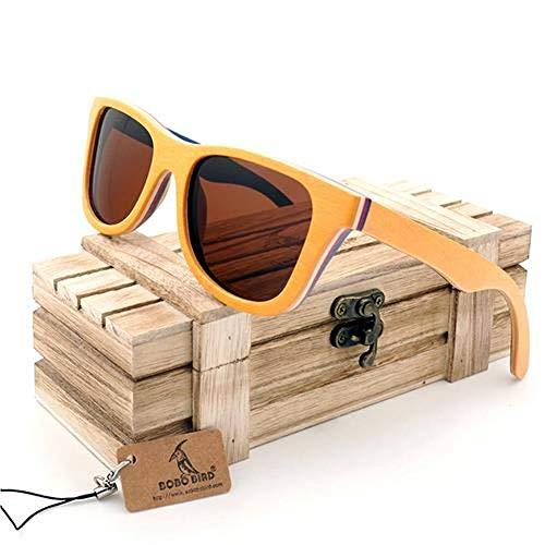 YLZERO Polarisierte sonnenbrille frauen männer geschichteten skateboard holzrahmen quadratischen stil brille für damen brillen in holzkiste