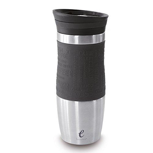 eSeasons Thermobecher Vakuum Isolier-Flasche Kaffee Edelstahl BPA frei 370ml Schwarz