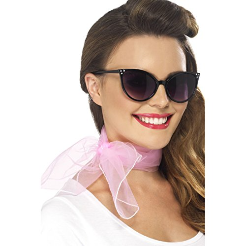 pink Damenschal Hals Tuch Chiffon Chiffontuch Rockabilly Damenhalstuch Rock `n` Roll Grease Kostüm Accessoires (50er Grease)