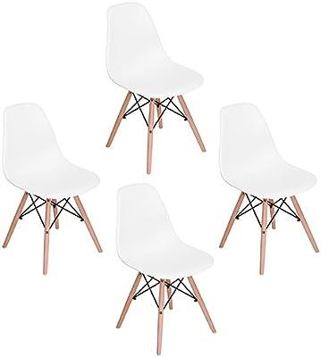 Pack de 4 Eames Dsw Comedor Silla , Eggree(TM) Sillas con Torre Eiffel Las Piernas de Madera de Haya Maciza,Blanco