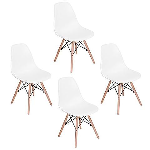 WorkCentre Set von 4 Esszimmerstühlen Moderne Eames DSW Style Side