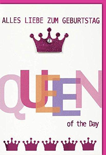 Karte Geburtstag Motiv pinke Krone Queen of the Day, Verpackungseinheit: 10 Stück